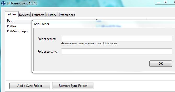 Ajouter un nouveau répertoire partagé sous BitTorrent Sync se fait très rapidement !