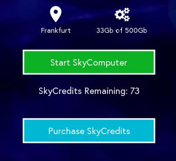 Ecran de démarrage d'instance depuis le client LiquidSky