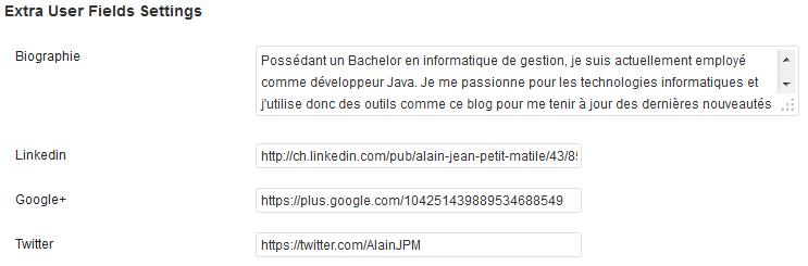 Exemple de profils personnalisés ajoutés